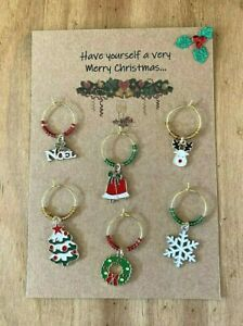 Handmade Christmas Wine Glass Charms in Gold with enamel Charms - set of 6