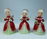 VTG MID-CENTURY NAPCO SPAGHETTI CHRISTMAS ANGEL BELL FIGURINES SET OF 3 JAPAN
