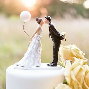 Leaning In For A Kiss Bride w/ Balloon Wedding Cake Topper w/ Custom Hair Colors