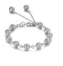 "Silver Filigree 10mm Balls Beads Hollow inside 8"" Chain Bracelet Gift Box B14"
