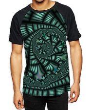 Fractal Spiral Green Men's All Over Baseball T Shirt - Psychedelic Hipster L