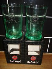 BACARDI MOJITO GLASSES X 2 boxed  WITH THE EMBOSSED BAT LOGO 33 CL