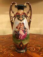 27cm Antique  Royal Vienna style Victorian Handpainted Porcelain Vase