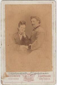 foto photo cabinet card  Casanova Giovanni Ufficiale regio esercito e consorte