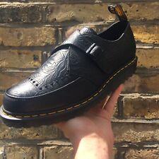 """RAMSEY"" DR MARTENS - Embossed Floral Black Leather Buckle Shoe UK 12/EU 47 BNWT"