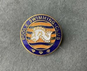 Vintage Poole Swimming Club Enamel pin badge Dorset Sports Collectable