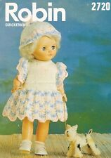 Dolls Clothes Knitting Pattern Copy 4 Ply dress pants bonnet  30 cm doll