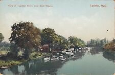 MA ~ TAUNTON ~ BOATS DOCKED on the TAUNTON RIVER NEAR THE BOAT HOUSE ~ c1910