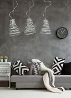 NEW PENDANT 1 LIGHT CEILING - WHITE METAL WIRED SHADE - DINING KITCHEN LED TWIST