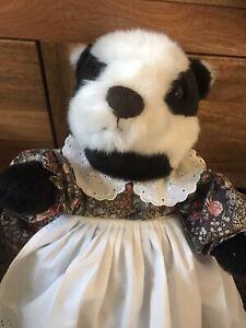 Plush Badger Cuddly Soft Toy Black & White Pamela Ann Designs England Vintage