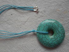 "Turquoise Howlite  ~ 2""  Donut Pendent ~ Handmade Necklace"