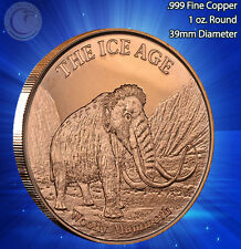 """Woolly Mammoth"" Copper Round 1oz .999 Copper part of the Ice Age Series"