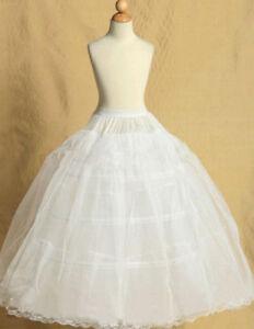 Alter 4-15 Blumenmädchen 4-hoop A-Linie Reifrock Petticoat Unterrock Kinder L1