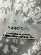 Mainstays Classic Noir Fabric Shower Curtain grey/white 70 x 72