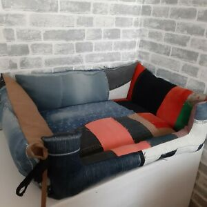 Handmade Patchwork denim soft bed for pets Bed for cat's and dog's