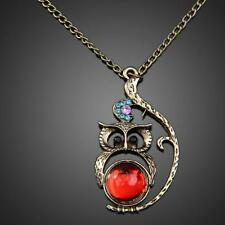 Vintage Studded Red Gem Owl Shaped Long Pendant Necklace Jewelery Fashion S1#