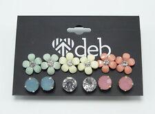 New 6 Pair Set of Flower  Stud  Rhinestone Earrings nwt #E1204