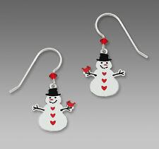 Sienna Sky SNOWMAN w/ CARDINAL EARRINGS STERLING Silver Bird Christmas Dangle