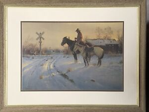 Vintage Western Cowboy Art The Coming Home by G Harvey Signed & Numbered Framed