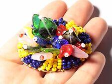 Vintage Czech hand glass beaded fruit salad opaline flower gold tone pin brooch