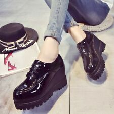 Women Wedge High Heel Creepers Oxfords Lace Up Platform Student College Shoes