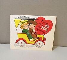 Vtg Valentine Card Antique Car Model A or T? Automobile  Gor For You 50's