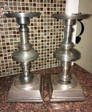 Pottery Barn Silver Pewter Pillar/Candle Holders Candle Sticks