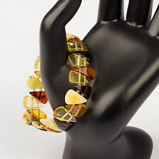 Natural Baltic Amber Adult Stretch Bracelet - Triangle Polished Beads
