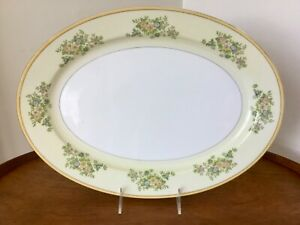 "Vintage Japan China Oval Serving Platter ~ Yellow Rim, Gold Trim & Florals ~ 16"""