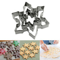 3 Pcs Stainless Steel Star Snowflake Biscuit Cutter Cookie Fondant Cake Mould
