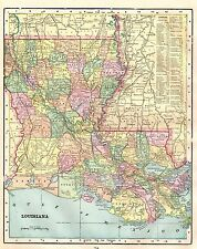 1899 Antique LOUISIANA MAP Vintage Map of Louisiana Gallery Wall Art #3653