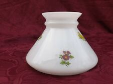 """Vintage Hand Painted Floral Milk Glass Student Oil Lamp Shade 5-3/4""""Fitter (S320"""