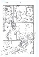 ORIGINAL ART PAGE THE WASP JANET VAN DYNE BY CRAIG ROUSSEAU HER-OES #2 PAGE #17