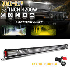52Inch Quad-Row LED Work Light Bar Amber & White COMBO Fog Lamp + Wiring Harness