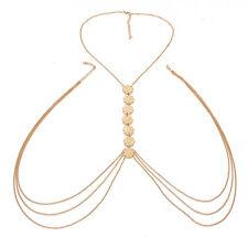 Women Body Chain Jewelry Bikini Waist Gold Belly Beach Harness Slave Necklace