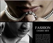 """Charm Jewelry Mens Silver Stainless Steel Cool 10mm Curb Necklace Chain 24"""""""