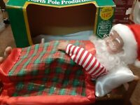 """Vintage 12"""" Snoring Santa Claus Christmas In Box North Pole Productions TESTED"""