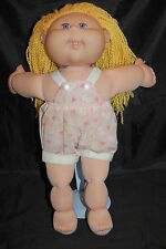Xavier Roberts Cabbage Patch Kids Blonde Blue Teeth Pink Jumper Doll Plush 17""