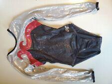 Alpha Factor Gymnastics Leotard Competition Cl Long Sleeve Black Red Silver