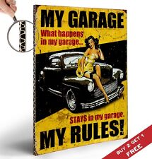 MY GARAGE MY RULES POSTER A4 Retro Vintage Design Inspirational Art Print Decor