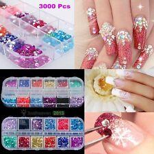 3000Pcs DIY Nail Art Tips Gems Crystal Glitter Rhinestone Decoration With Case