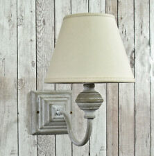 Lund grey single square wall light with lampshade