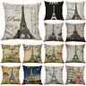 Retro Eiffel Tower Linen Throw Pillow Case Pillow Cover Cushion Cover Home Decor