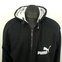 PUMA Mens  Hoodie Jumper Full Zip 2XL Black Hooded Heavyweight Cotton