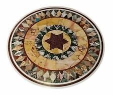 "18""x18"" Marble Semi Precious Stones Lapis Floral Inlay Table Top Handmade Work"