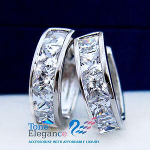 9ct 9k white gold GF hoop huggies solid earrings made with swarovski crystal