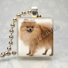 POMERANIAN DOG BREED PUPPY - Scrabble Tile Altered Art Pendant Jewelry Charm