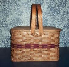 Handwoven Country Rustic Square Double Pie Carrier Basket