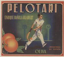"""""""PELOTARI"""" Affiche d'intérieur originale entoilée Chromo-litho vers 1930 33x29cm"""