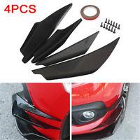 4PCS Universal ABS Glossy Black Car Front Bumper Fins Spoiler Wing Lip Splitter